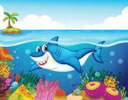 tubarão peixe no mar vetor