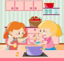 Duas garotas fazendo sopa na cozinha vetor