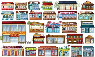 Lojas e edifícios diferentes vetor