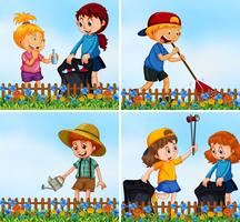 Bons filhos cuidando do meio ambiente vetor