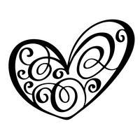 Coração do vintage para Valentim e ilustração do vetor do dia do casamento como o elemento do projeto. Tipografia de tinta pincel divertido para sobreposições de foto, impressão de t-shirt, panfleto, design de cartaz