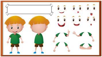 Menino, com, diferente, expressões faciais vetor
