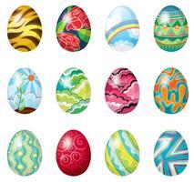 Uma dúzia de ovos de Páscoa coloridos vetor