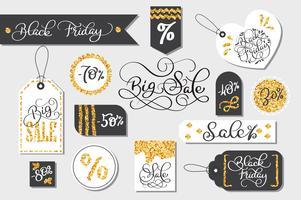 conjunto de venda de sexta-feira negra tags publicidade ilustração vetorial vetor