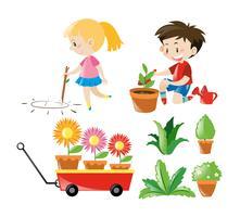Menino menina, com, diferente, plantas vetor