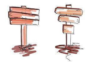 Conjunto de sinais de madeira. Ilustração vetorial, isolada no fundo branco
