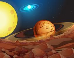 Fundo de espaço com lua e céu vetor