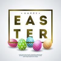 Feliz Páscoa Design de férias com ovo pintado colorido e letra de tipografia dourada vetor