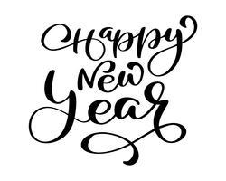 Feliz ano novo texto de mão-rotulação. Caligrafia moderna de vetor feito à mão