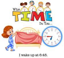 Uma garota acorda às 6:45 vetor