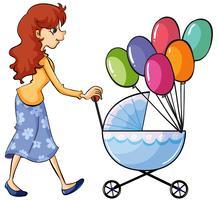 Um carrinho de bebê e menina vetor
