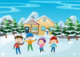 Cena de inverno com as crianças em pé na frente da casa vetor