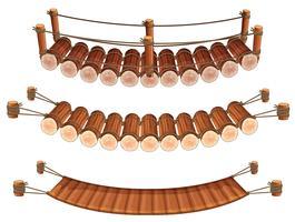 Três estilos de pontes de madeira vetor