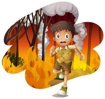 Explorador da floresta correr awat de um incêndio florestal vetor