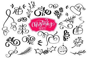 conjunto de elemento de design de Natal em estilo doodle. Ilustração vetorial