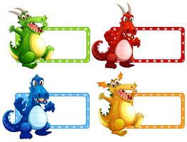 Design de etiquetas com muitos dragões vetor