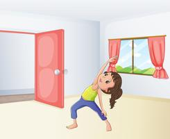 Um, menina, exercitar, em, um, sala vetor