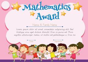 Certificado de prêmio de matemática vetor