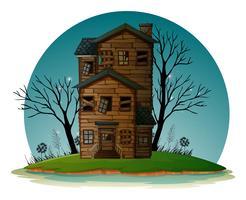 Casa assombrada na ilha vetor