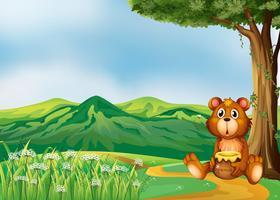 Um urso acima das colinas vetor