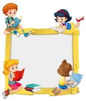 Border design com crianças lendo e fazendo lição de casa vetor