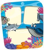 Modelo de quadro com animais marinhos vetor