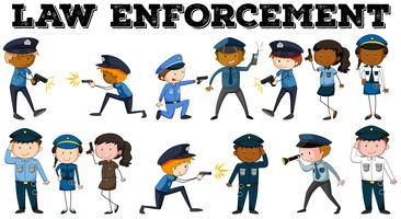 Policial e pôster de aplicação da lei vetor