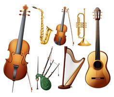 Diferentes tipos de instrumentos musicais vetor
