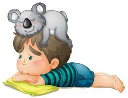 menino e urso vetor