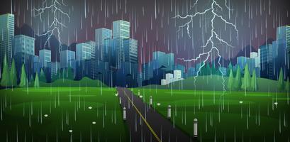 Cena da cidade com chuva e trovões vetor