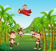 Um, grupo macaco, selva vetor