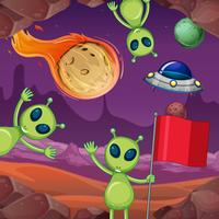 Aliens e planetas no espaço vetor