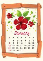 Modelo de calendário com hibisco vermelho para janeiro