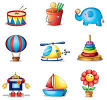 Nove tipos diferentes de brinquedos vetor