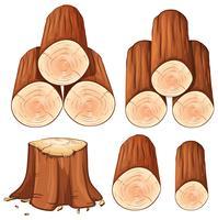 Pilhas de lenha e árvore de tronco vetor