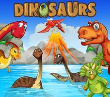 Diferentes tipos de dinossauros no oceano