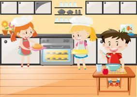Cena de cozinha com meninas assando e comendo menino vetor