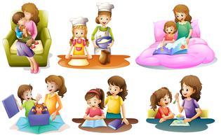 Diferentes atividades de uma mãe e uma criança vetor
