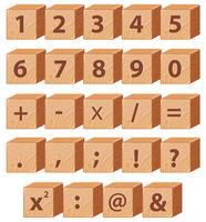 Número de matemática e símbolo de bloco de madeira