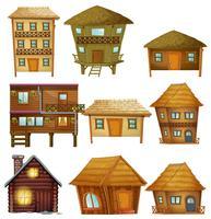 Projetos diferentes de cabanas de madeira vetor