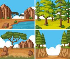 Quatro cenas da natureza no tempo do dia vetor