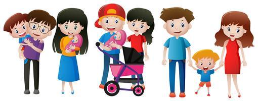 Três famílias com filhos vetor