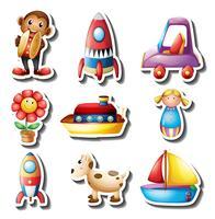 Conjunto de adesivos de brinquedos vetor