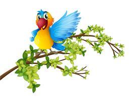 Um papagaio colorido em um galho de uma árvore vetor