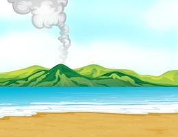 Uma vista da praia perto de um vulcão vetor