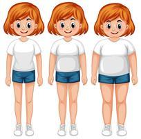 Uma transformação do corpo da menina vetor