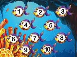 Contando o número de peixes debaixo d'água vetor
