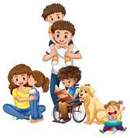 Família feliz, com, bebê, e, cachorro pet