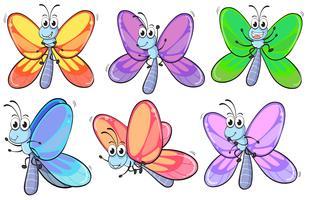 Um grupo de borboletas coloridas vetor