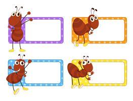 Etiquetas quadradas com formigas vermelhas vetor